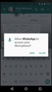 WhatsApp asking permission for microphone